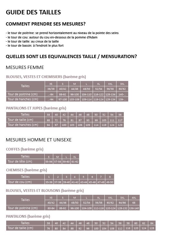 Guide de tailles SAGER BAREME GRIS
